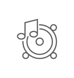 Loudspeakers with music note line icon vector