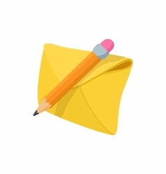 Yellow envelope and pencil icon vector image