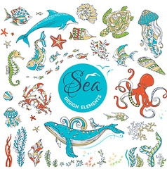 Set of cartoon wild underwater sea life vector