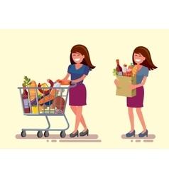 Woman in supermarket vector