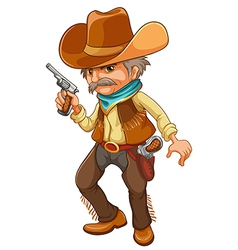 A cowboy holding a gun vector image vector image