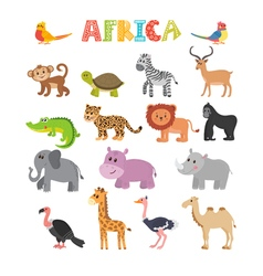 Animals of Africa set of cartoon jungle animals vector image