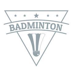 badminton logo simple gray style vector image vector image