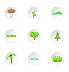 Beautiful nature icons set cartoon style vector