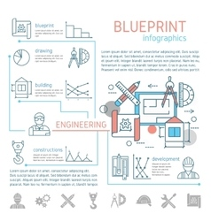 Blueprint and engineering linear infographics vector