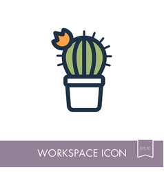 Cactus outline icon workspace sign vector