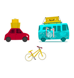 car trip surf van with baggage mountain bike vector image
