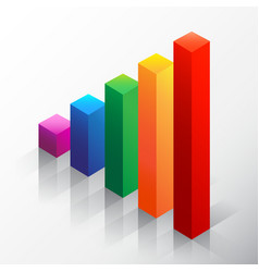 Colored bar chart emphasizing growth vector