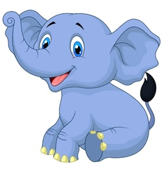 Cute baby elephant cartoon sitting vector image vector image