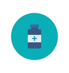 Flat bottle with medical pills icon vector image vector image