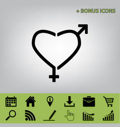 Gender signs in heart shape black icon at vector