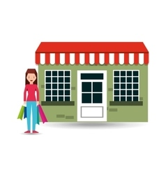 girl wearing blue pants shopping bags gift vector image