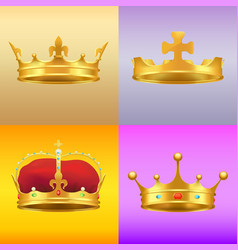 Gold kings medieval crowns in several designs set vector