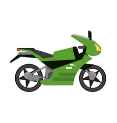 Green motorcycle transport style vector