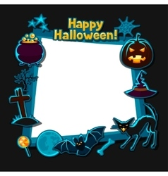 Happy halloween greeting card with stickers vector image
