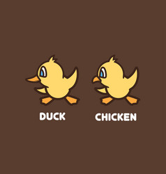 Icon of duck and baby chicken vector