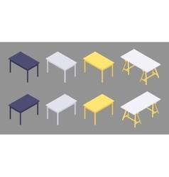 Isometric colored tables vector