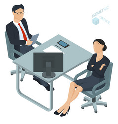 isometric office vector image vector image