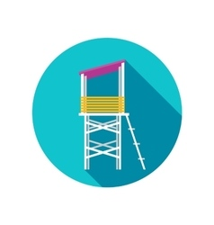 Lifeguard tower flat icon with long shadow vector image