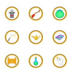 Magician equipment icons set cartoon style vector