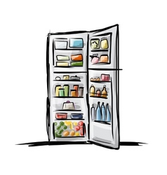 Opened fridge full of food sketch for your design vector image