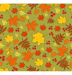 Pattern with autumn leaves on green background vector image vector image