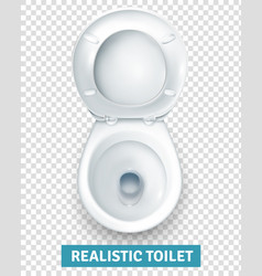 Realistic white toilet bowl top view vector