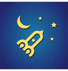 Rocket moon sky vector