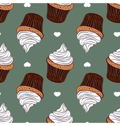 Seamless pattern creamy cupcakes vector