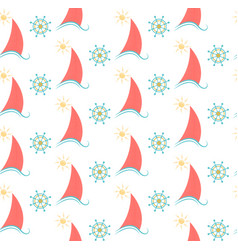 seamless pattern sailboat and the steering wheel vector image vector image