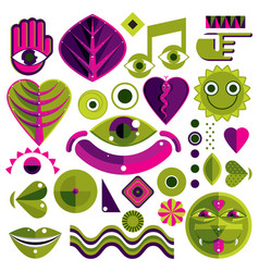 set of abstract art symbols different modern vector image