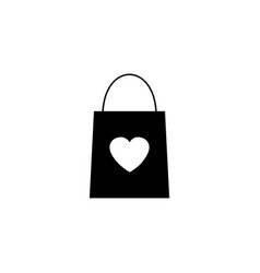 shopping bag with heart solid icon vector image vector image