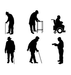 Six old people silhouettes vector