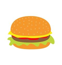 Tasty hamburger icon with meat tomato salad cheese vector