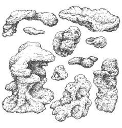 Underwater rocks set vector