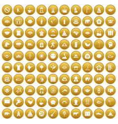 100 yoga icons set gold vector