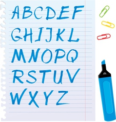 Alphabet set - letters are made of blue marker vector image