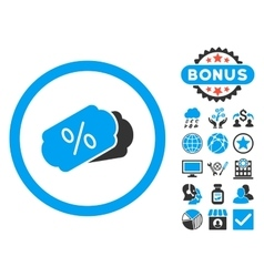 Discount coupons flat icon with bonus vector
