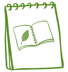 A green doodle notebook vector image