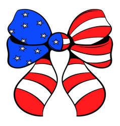 Bow in the usa flag colors icon cartoon vector