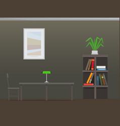 library interior with bookshelves flat vector image