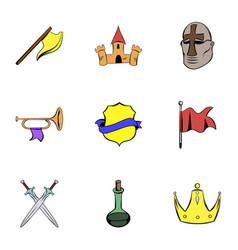 Warrior icons set cartoon style vector