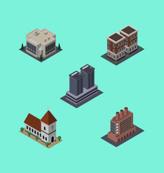 Isometric building set of chapel industry vector