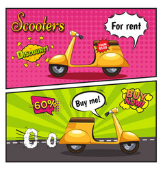 Scooters comic style banners vector