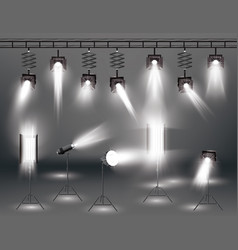 Spotlight set with different transparent light vector
