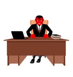 Diablo boss sitting in office devil of workplace vector