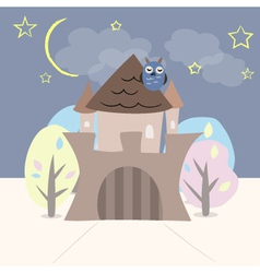 Castle with trees owl stars and moon vector