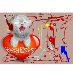 Birthday card with fun cat vector