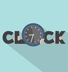 Clock Typography With Hands Symbol Design vector image