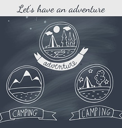 Set of doodle camping badges on blackboard vector